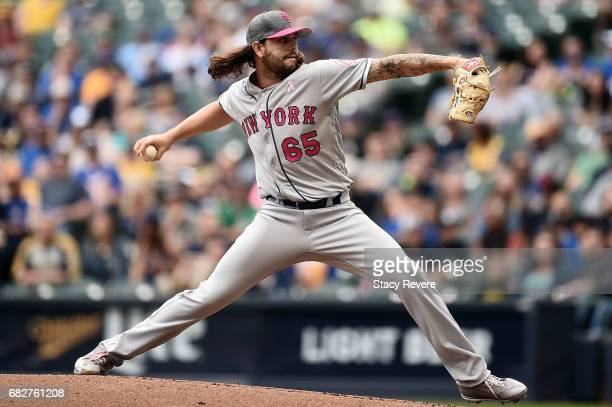 Robert Gsellman of the New York Mets throws a pitch during the first inning of a game against the Milwaukee Brewers at Miller Park on May 13 2017 in...