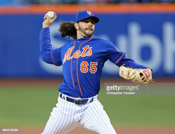 Robert Gsellman of the New York Mets throws a pitch during the top of the first inning against the Miami Marlins on April 8 2017 at Citi Field in the...