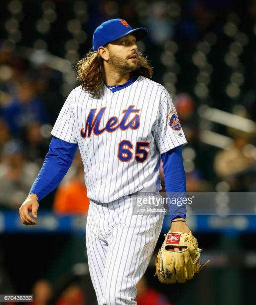Robert Gsellman of the New York Mets walks to the dugout after the seventh inning against the Philadelphia Phillies at Citi Field on April 19 2017 in...