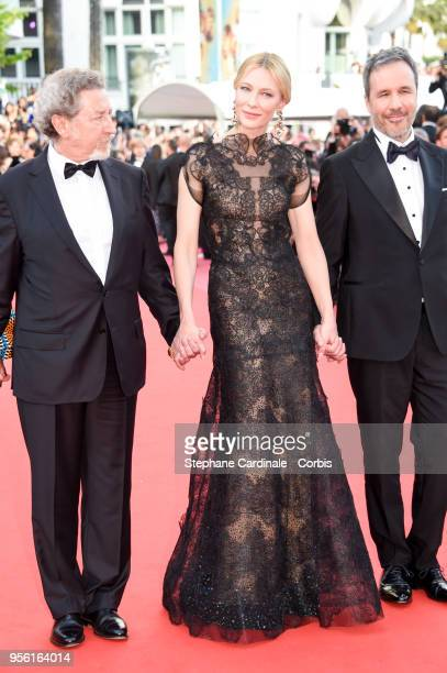 Robert Guediguian Cate Blanchett and Denis Villeneuve attend the screening of 'Everybody Knows ' and the opening gala during the 71st annual Cannes...