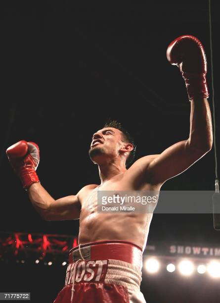 Robert Guerrero celebrates his victory against Eric Aiken after their IBF featherweight championship fight at Staples Center on September 2 2006 in...