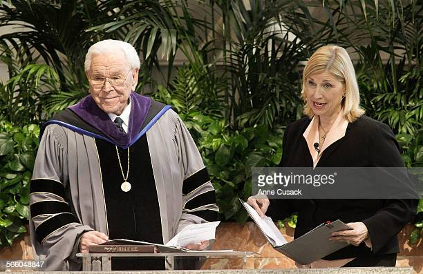 Robert H Schuller and his daughter Sheila Schuller Coleman appear on a video screen as they address the congregation at The Crystal Cathedral in...
