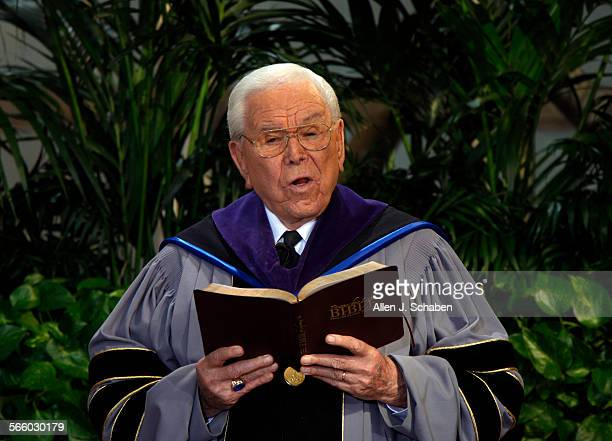 Robert H. Schuller reads scripture during Sunday services at the Crystal Cathedral in Garden Grove. The Crystal Cathedral is having money problems...
