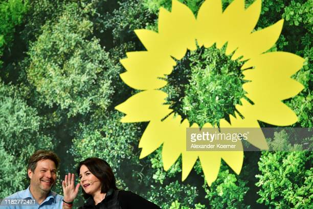 Robert Habeck and Annalena Baerbock attend a federal delegates conference of the German Greens Party on November 16 2019 in Bielefeld Germany Party...