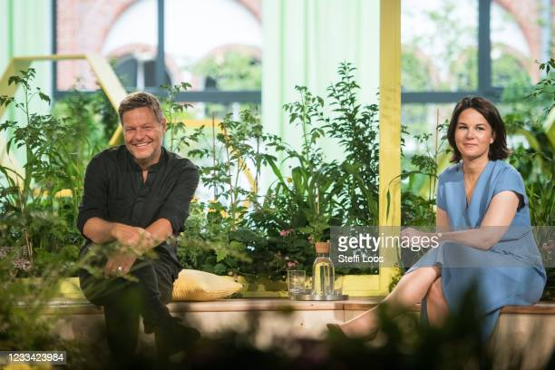 Robert Habeck and Annalena Baerbock, co-heads of the German Greens Party, attend the virtual federal party congress on June 13, 2021 in Berlin,...