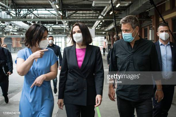 Robert Habeck and Annalena Baerbock , co-heads of the German Greens Party, welcome opposition leader-in-exile Svetlana Tikhanovskaya at the virtual...