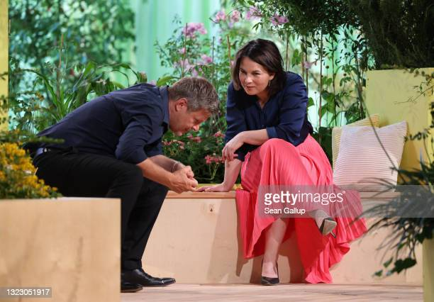 Robert Habeck and Annalena Baerbock, co-heads of the German Greens Party, attend the virtual federal party congress on June 11, 2021 in Berlin,...