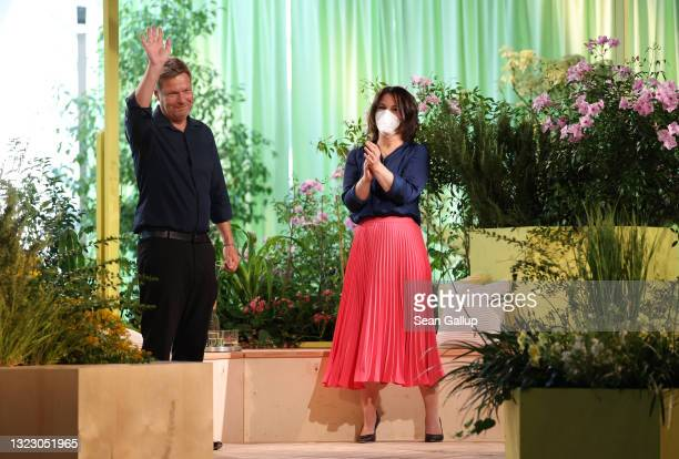 Robert Habeck and Annalena Baerbock, co-heads of the German Greens Party, attend the virtual federal party congress after Habeck spoke on June 11,...