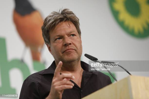 Robert Habeck, Co Chairman, of the German Greens Party, speaks at a Greens party congress ahead of European elections on May 18, 2019 in Berlin,...