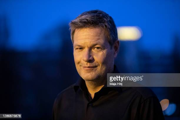 Robert Habeck, co-head of the German Greens Party , poses for a portrait outside the venue on the second day of a three-day Greens Party federal...