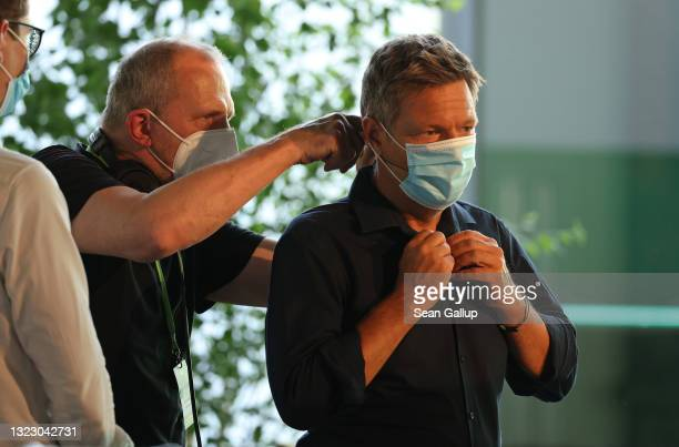 Robert Habeck, co-head of the German Greens Party, prepares to speak to delegates in a virtual federal party congress on June 11, 2021 in Berlin,...