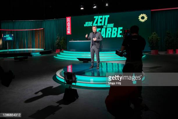 Robert Habeck, co-head of the German Greens Party , speaks on the second day of a three-day Greens Party federal party congress during the second...