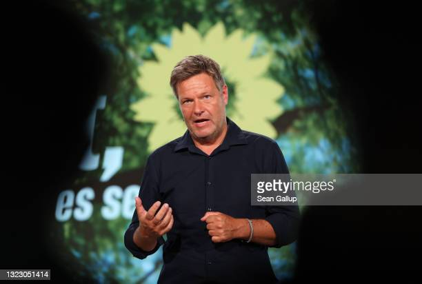 Robert Habeck, co-head of the German Greens Party, speaks to delegates in a virtual federal party congress on June 11, 2021 in Berlin, Germany....