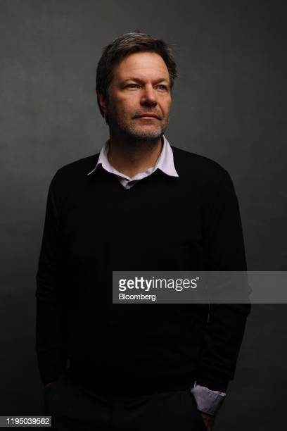 Robert Habeck, co-leader of Germanys Green Party, poses for a photograph following a Bloomberg Television interview on the opening day of the World...