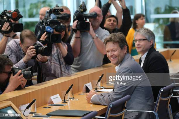 Robert Habeck , co-leader of the German Greens Party , and Sven Giegold, co-lead candidate of the Greens in EU parliamentary elections, arrive to...