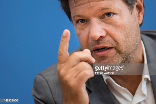 Robert Habeck coleader of the German Greens Party is pictured during a press conference one day after the european election on May 27 2019 in Berlin...