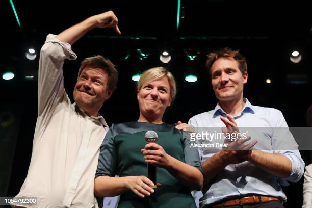 Robert Habeck, co-leader of the German Greens Party , Ludwig Hartmann, co-lead candidate of the German Greens Party , and Katharina Schulze, co-lead...