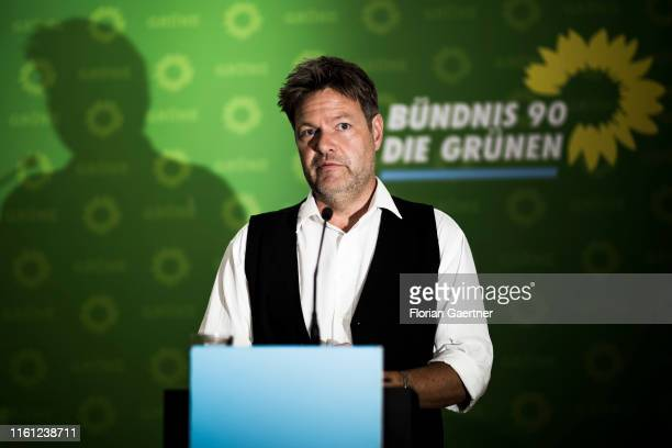 Robert Habeck coleader of the German Greens Party speaks to the media after the meeting of the Greens federal executive board on August 12 2019 in...