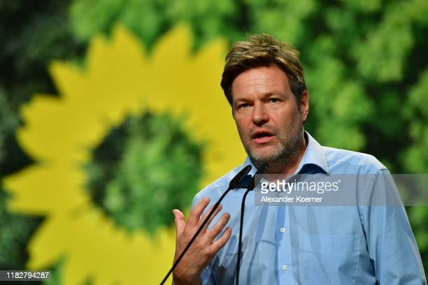 Robert Habeck delivers a speech as federal executive board during a federal delegates conference of the German Greens Party on November 16, 2019 in...