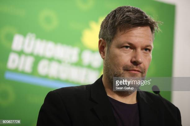 Robert Habeck, new co-leader of the German Greens Party , speaks to the media at party headquarters on February 19, 2018 in Berlin, Germany. Habeck...