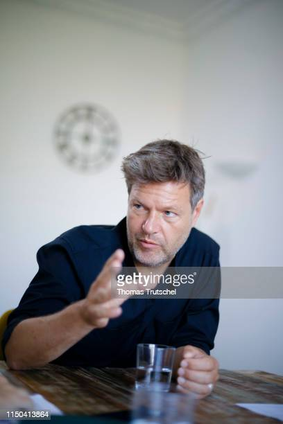 Robert Habeck party leader of Buendnis 90 / Die Gruenen gestures during an interview on June 14 2019 in Berlin Germany
