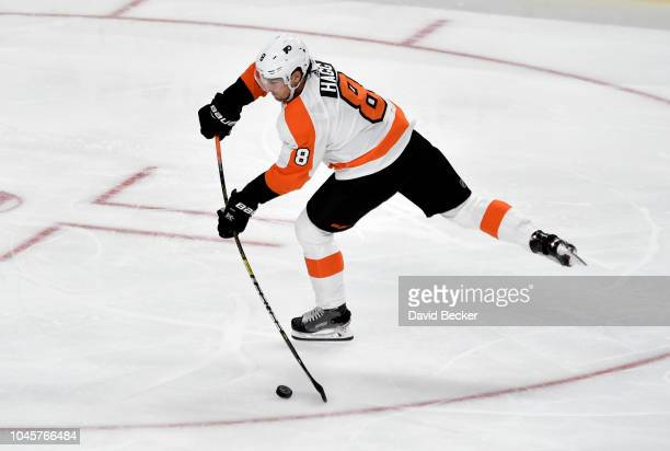 Robert Hagg of the Philadelphia Flyers shoots the puck against the Vegas Golden Knights during a game at TMobile Arena on October 4 2018 in Las Vegas...