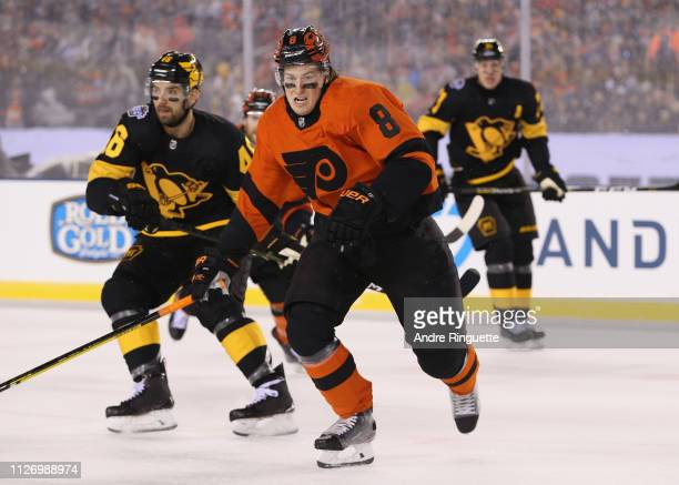 Robert Hagg of the Philadelphia Flyers skates after the play during the 2019 Coors Light NHL Stadium Series game between the Pittsburgh Penguins and...