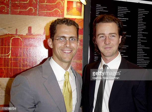 """Robert Hammond and Benefit Co-Chair Edward Norton during Friends of the High Line Party to Celebrate """"Designing the High Line"""" at Vanderbilt Hall,..."""