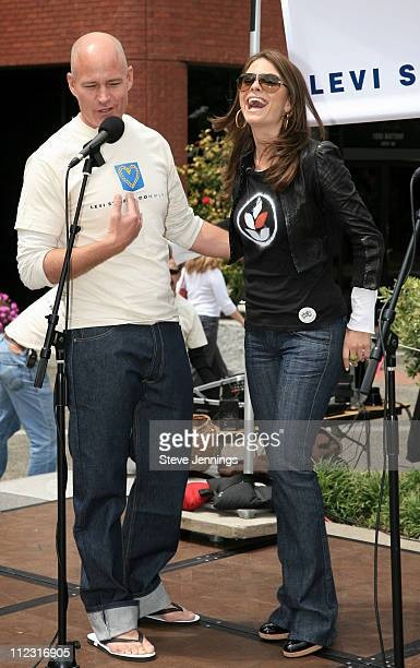 Robert Hanson and Maria Menounos during Maria Menounos Celebrates Volunteerism With Levi's Jeans on 501 Day at Levi's Headquarters and Store in San...