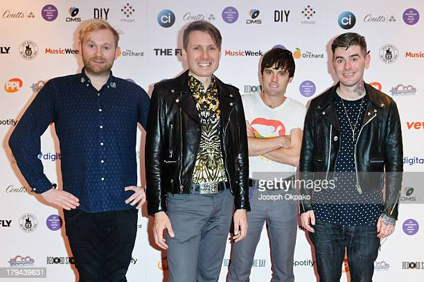 Robert Hardy Alex Kapranos Nick McCarthy and Paul Thomson of Franz Ferdinand attends the AIM Independent Music Awards at The Brewery on September 3...
