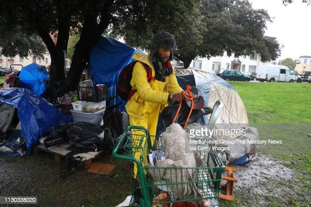 Robert Harris packs his belongings at a homeless camp in Lakeside Park on Thursday Feb 14 in Oakland Calif The city of Oakland cleared encampments in...