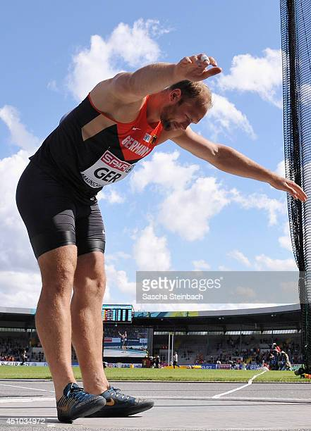 Robert Harting of Germany celebrates during the Men's Discus Throw during second day of the European Athletics Team Championship at Eintracht Stadion...