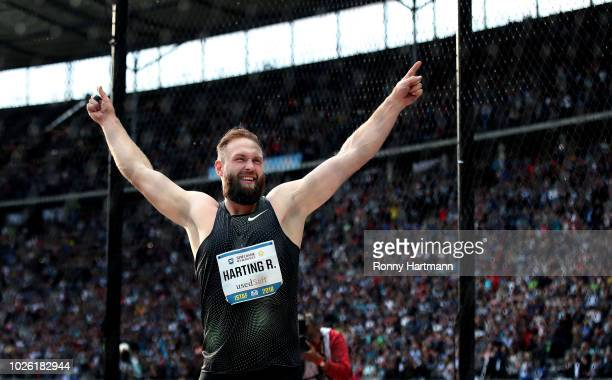 Robert Harting of Germany celebrates during the Men's Discuss Throw Final during the ISTAF 2018 athletics meeting at Olympiastadion on September 2...