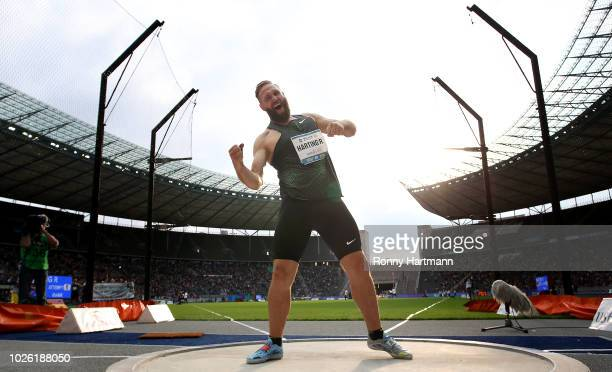 Robert Harting of Germany celebrates during the Men's Discuss Throw during the ISTAF 2018 athletics meeting at Olympiastadion on September 2 2018 in...