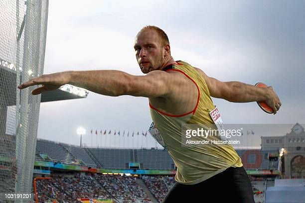 Robert Harting of Germany competes in the Mens Discus Final during day six of the 20th European Athletics Championships at the Olympic Stadium on...