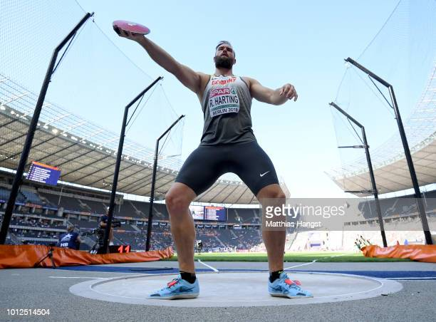 Robert Harting of Germany competes in the Men's Discus qualification during day one of the 24th European Athletics Championships at Olympiastadion on...