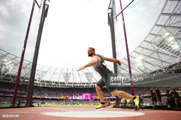 Robert Harting of Germany competes in the Men's Discus Qualification Group A during day one of the 16th IAAF World Athletics Championships London...