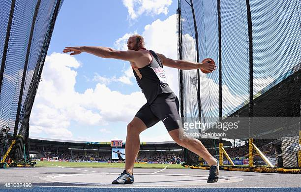 Robert Harting of Germany competes in the Men's Discus Throw during second day of the European Athletics Team Championship at Eintracht Stadion on...
