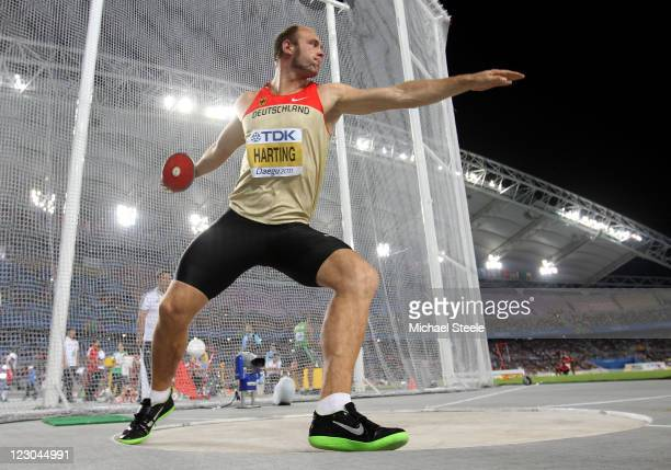 Robert Harting of Germany competes in the men's discus throw final during day four of 13th IAAF World Athletics Championships at Daegu Stadium on...