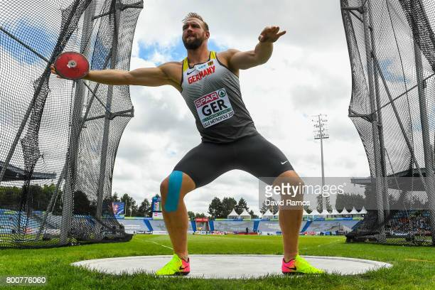 Robert Harting of Germany competes in the Men's Discus Throw Final during day three of the European Athletics Team Championships at the Lille...