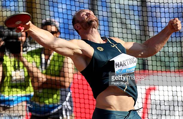 Robert Harting of Germany competes in the men's discus thrown at the IAAF Golden Gala at Stadio Olimpico on June 5 2014 in Rome Italy