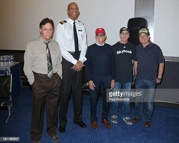 Robert Hays Kareem AbdulJabbar Jim Abrahams Jerry Zucker and David Zucker attend the 'Airplane' 30th anniversary reunion press announcement at Air...