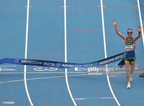 Robert Heffernan of Ireland crosses the line to win gold in the Men's 50km Race Walk final during Day Five of the 14th IAAF World Athletics...