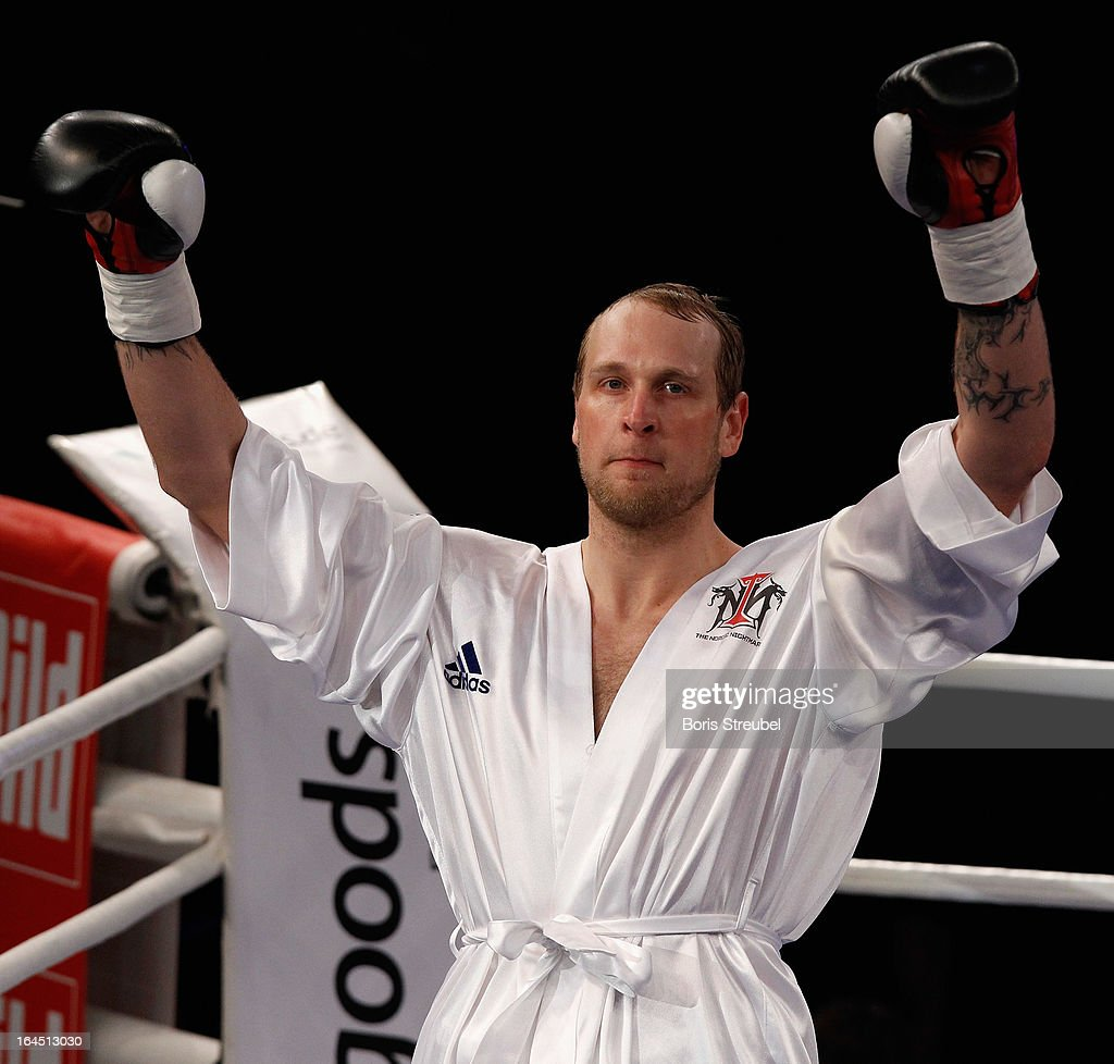 Robert Helenius of Finland gestures prior to the Heavyweight fight at Getec Arena on March 23, 2013 in Magdeburg, Germany.