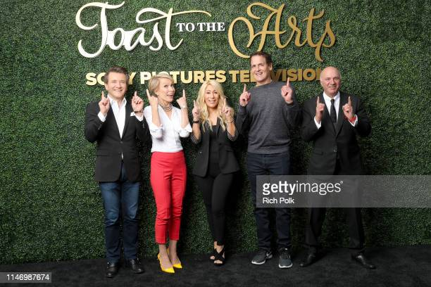 Robert Herjavec, Barbara Corcoran, Lori Greiner, Mark Cuban and Kevin O'Leary attend Sony Pictures Television's Emmy FYC Event 2019 'Toast to the...