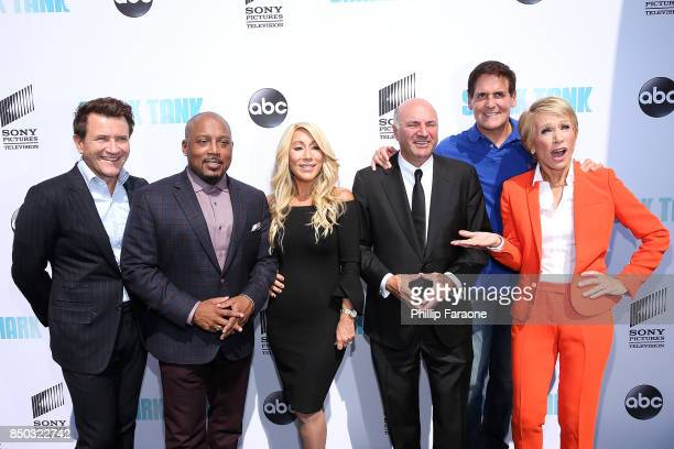 Robert Herjavec Daymond John Lori Greiner Kevin O'Leary Mark Cuban and Barbara Corcoran attend the premiere of ABC's Shark Tank Season 9 at The Paley...
