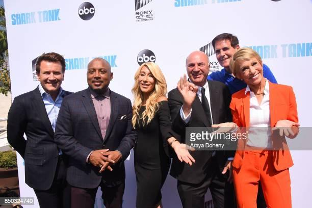 Robert Herjavec Daymond John Lori Greiner Kevin O'Leary Mark Cuban and Barbara Corcoran attend the premiere of ABC's Shark Tank Season 9 at The Paley...