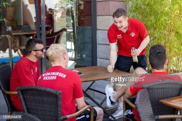 Robert Herrmann of Wuerzburger Kickers, Luke Hemmerich of Wuerzburger Kickers, goalkeeper Vincent Mueller of Wuerzburger Kickers and Luca Pfeiffer of...