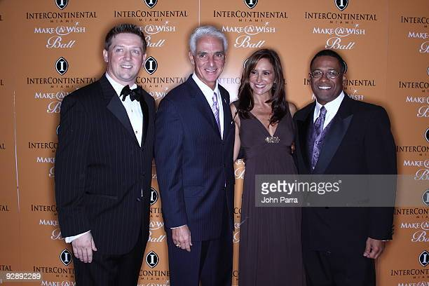 Robert Hill Governor of Florida Charlie Crist Carole Crist and MakeAWish CEO Norm Wedderburn attend 15th Annual InterContinental Miami MakeAWish Ball...