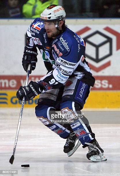 Robert Hock of the Roosters leads the puck during the DEL PlayOff match between Iserlohn Roosters and Frankfurt Lions at the Ice Sports Hall Iserlohn...